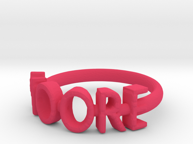 Moore Ring Size 7 in Pink Processed Versatile Plastic
