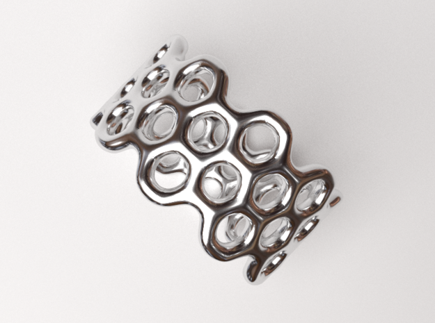 Dots Ring (Size 7) in Rhodium Plated Brass