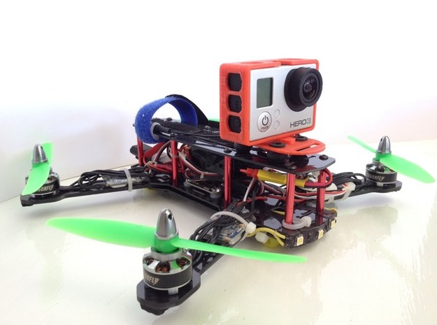 ZMR250 Quadcopter GoPro3 Frame in Red Processed Versatile Plastic