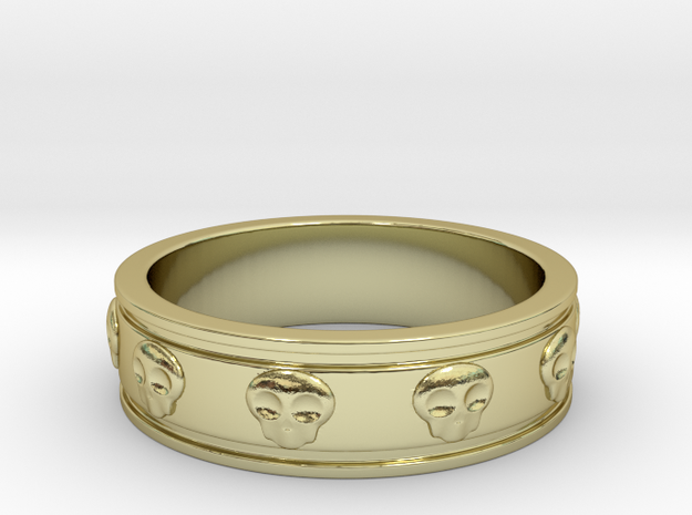 Ring with Skulls - Size 5 in 18k Gold Plated Brass