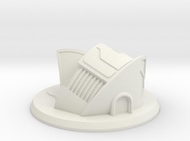 Sci-Fi Dwelling / Municipal Building Gaming Piece in White Natural Versatile Plastic