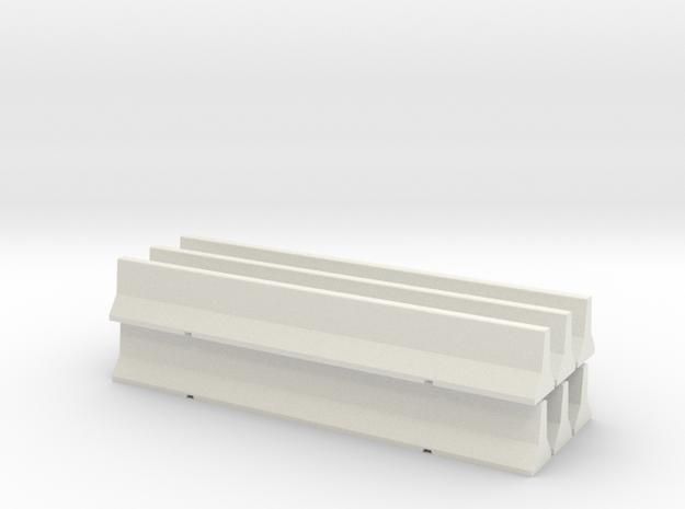 Road Barrier Pack in White Natural Versatile Plastic