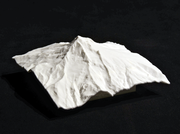 4'' Mt. Hood Terrain Model, Oregon, USA 3d printed Photo of actual model, viewed from the West