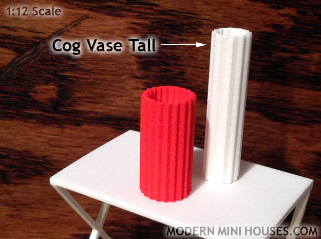 Cog Modern Vase Tall 1:12 scale in White Strong & Flexible Polished