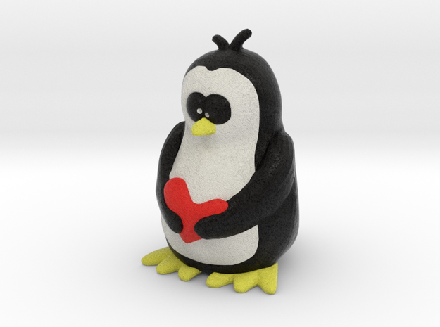 Penguin with Heart in Full Color Sandstone