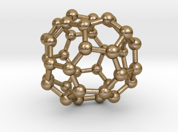 0094 Fullerene c38-13 c2 in Polished Gold Steel