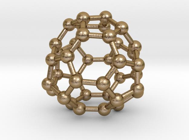 0098 Fullerene c38-17 c2 in Polished Gold Steel