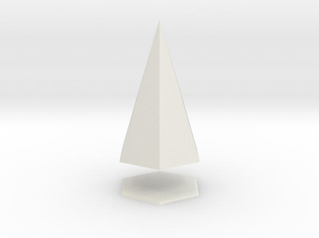 Pyramis Laterata Exagona Solida in White Natural Versatile Plastic
