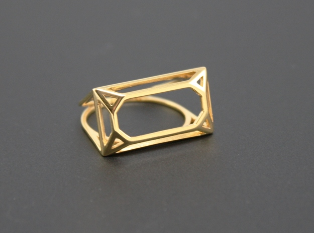 Wire Emerald Ring - US Size 08 in 18k Gold Plated Brass