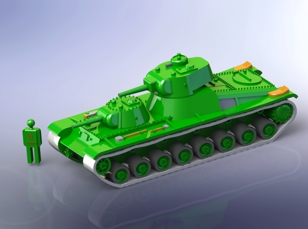 Sovjet T100 Heavy Tank 1/200 in Smooth Fine Detail Plastic
