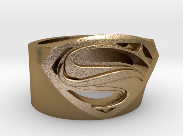 Superman Ring - Man Of Steel Ring US12 in Polished Gold Steel