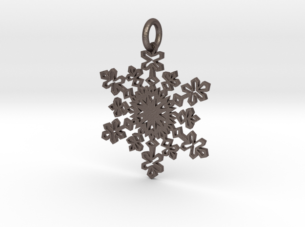 Crystal Slush Pendant in Polished Bronzed Silver Steel