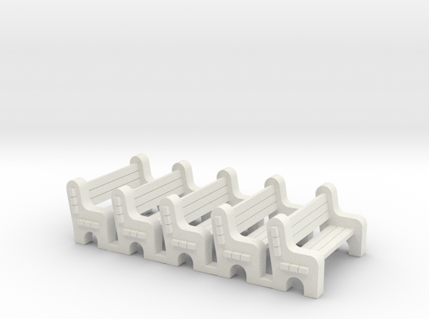 Street Bench - Qty (5) HO 87:1 Scale in White Natural Versatile Plastic