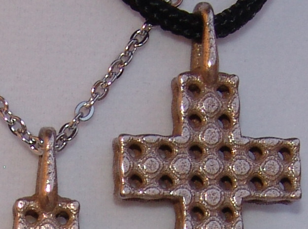 Cross with Depth in Polished Bronzed Silver Steel