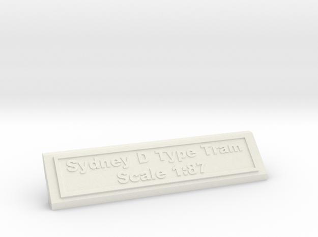 Base Nameplate HO Sydney D in White Natural Versatile Plastic
