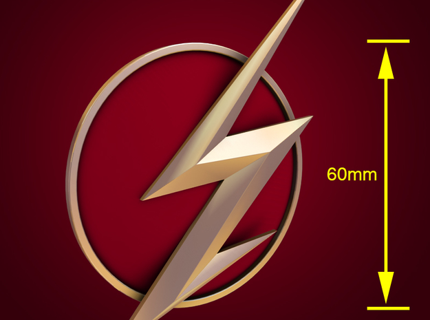 The Flash - Left Ear Bolt (TV Flash) -60mm in Stainless Steel