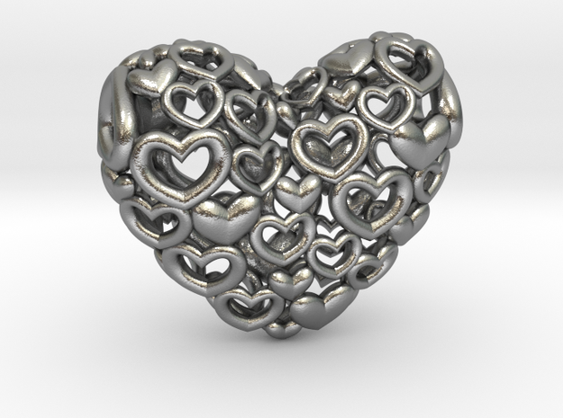 Heart by Heart 35mm Pendant. 3d printed silver Hearts