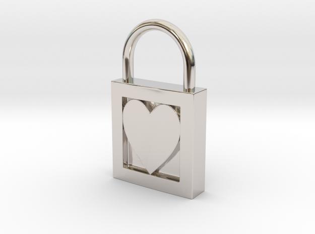 Heart Padlock in White Natural Versatile Plastic