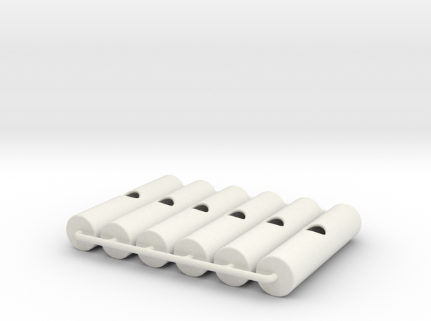 Bandolier Small Cylinder Set of 6 in White Natural Versatile Plastic