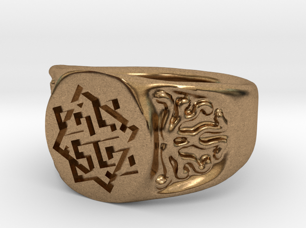 Slavic Swastika Charm Ring in Raw Brass