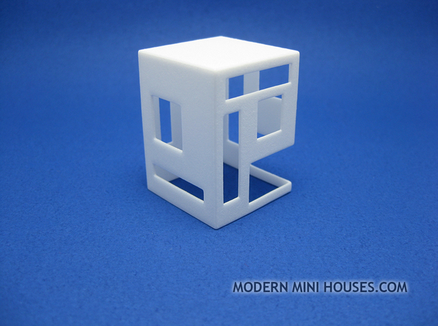 Slotted 1:12 scale Side Table in White Processed Versatile Plastic