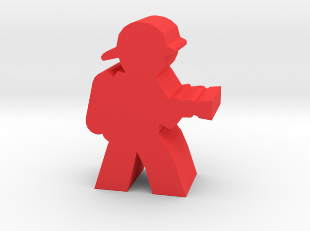 Firefighter Meeple, With Hose in Red Processed Versatile Plastic