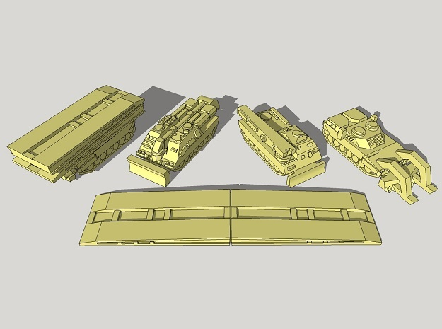 3mm Leopard 2 Pioneer Vehicles (16pcs) in Smooth Fine Detail Plastic