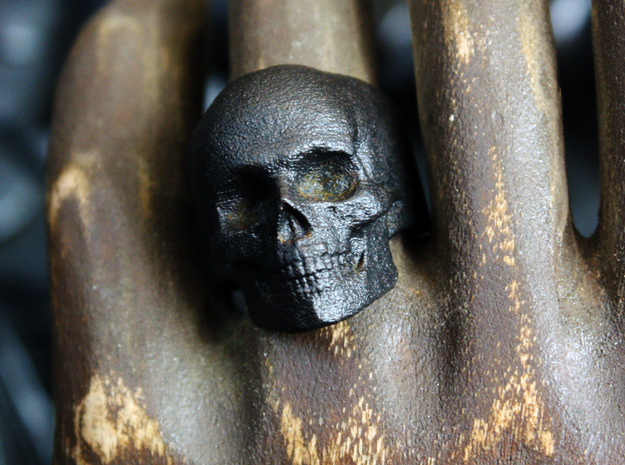 Memento Mori Full Skull Ring size 8 in Matte Black Steel