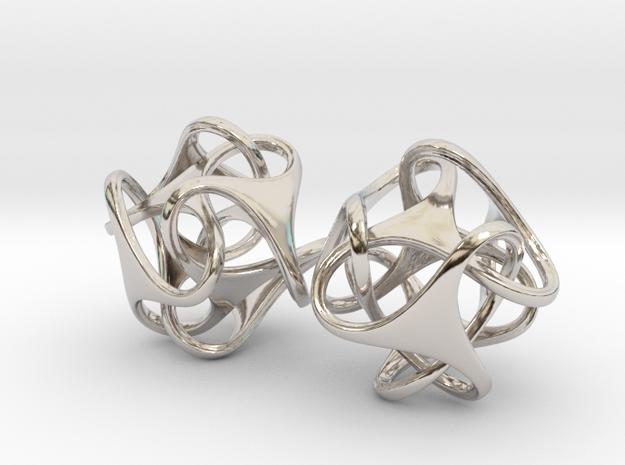 Tetron earrings in Rhodium Plated Brass