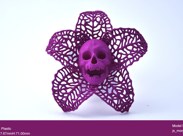 Skeletal Flower in Purple Strong & Flexible Polished