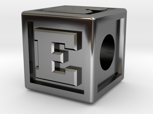 "Name Pieces; Letter ""E"" in Fine Detail Polished Silver"
