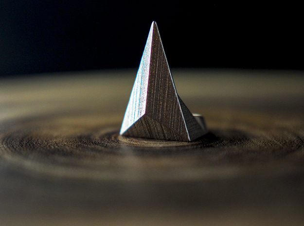 Golden Ratio Triangle Ring: Sz7 in Polished Bronzed Silver Steel