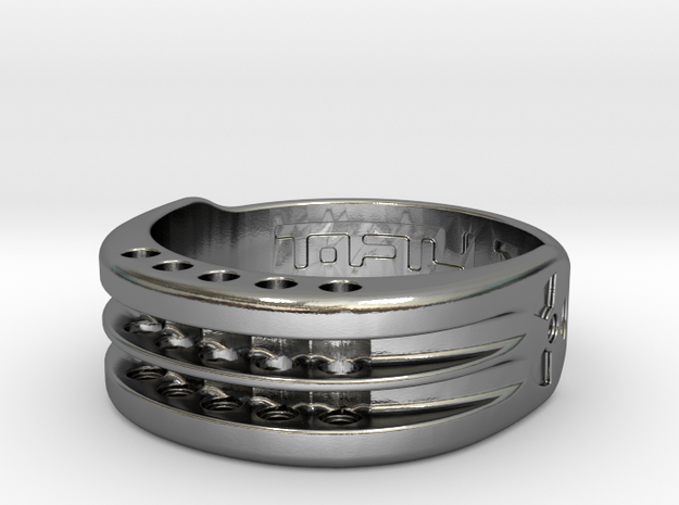 US17 Ring XI: Tritium, Five Holes in Polished Silver
