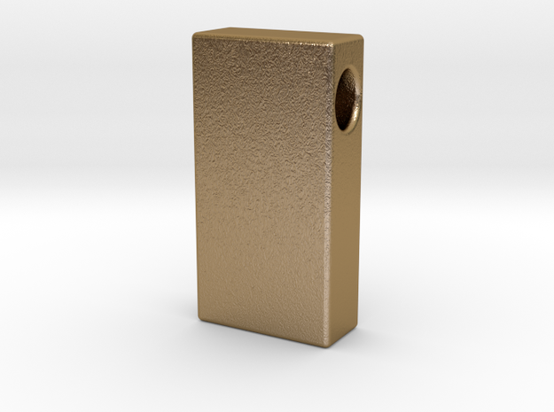 Gold Brick Pendant (solid) in Polished Gold Steel