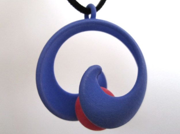 Half Mob-Tor: the half Mobius Torus Shell 3d printed In Polished Strong and Flexible (marble and necklace not included)