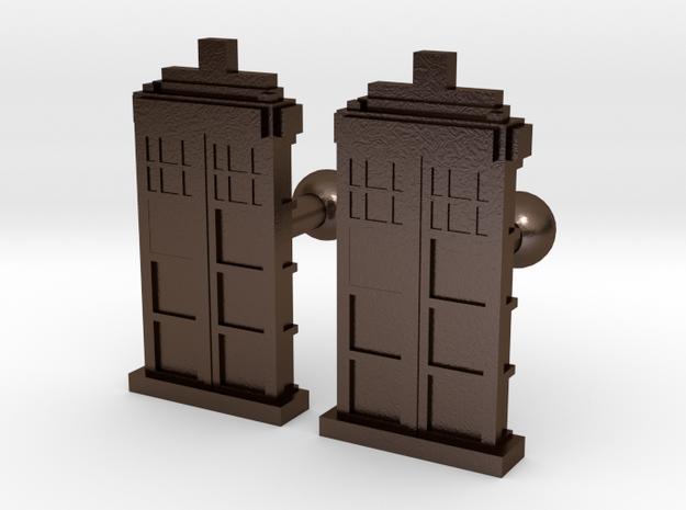 Tardis Cufflinks in Polished Bronze Steel