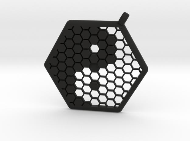 Honeycomb Yin Yang Pendant in Black Natural Versatile Plastic