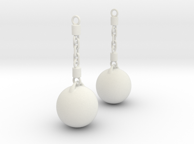 Wrecking Ball Earing in White Strong & Flexible