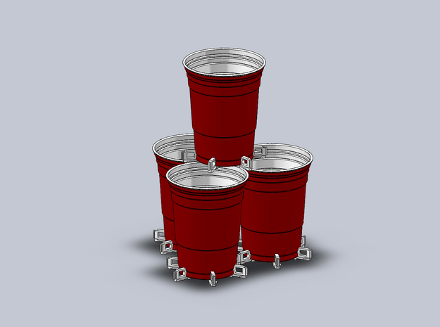 Beer Pong Cup Holder (Pack of 6) in White Natural Versatile Plastic