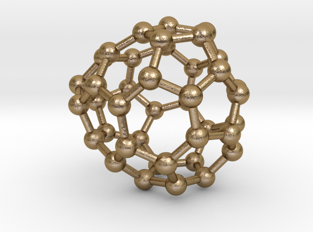 0121 Fullerene C40-15 c2 in Polished Gold Steel