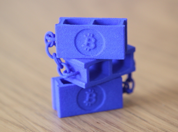 Bitcoin Blockchain in Blue Processed Versatile Plastic