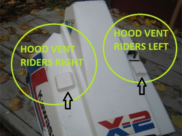 Hood Vent Riders Left in White Strong & Flexible Polished