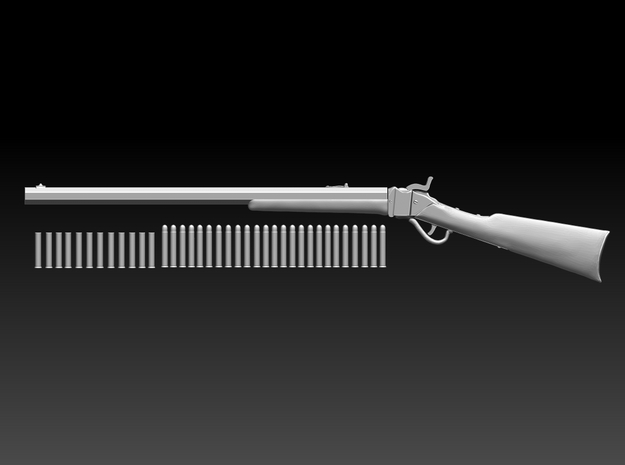Sharps rifle w bullets 10.6cm 3d printed