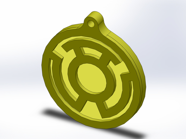 Yellow Lantern Key Chain 3d printed