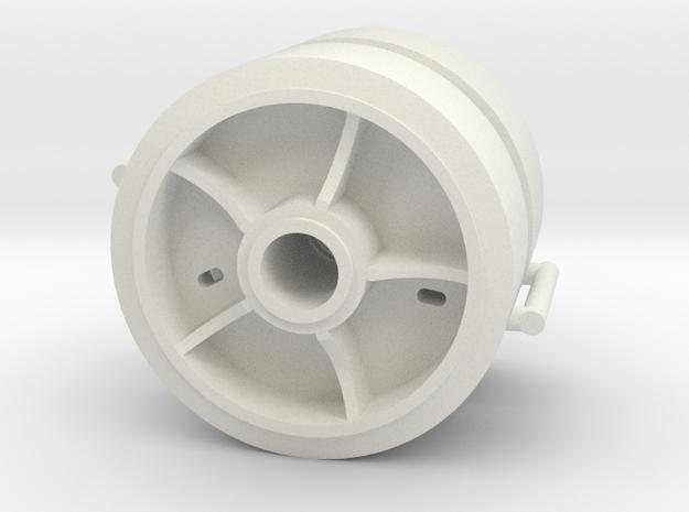 Two 1/16 scale 5 spoke pressed steel wheels in White Natural Versatile Plastic