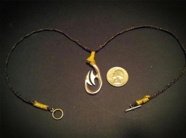 Maori Fish hook Pendant 3d printed maori hook with woven maori necklace