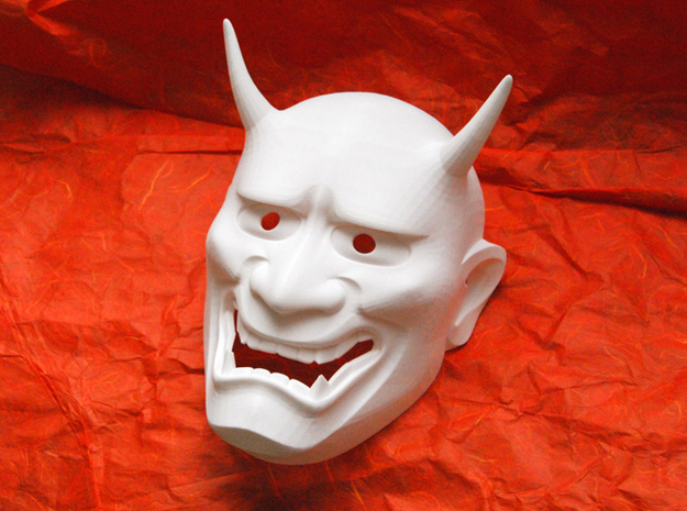 Japanese Hannya demon mask in White Natural Versatile Plastic