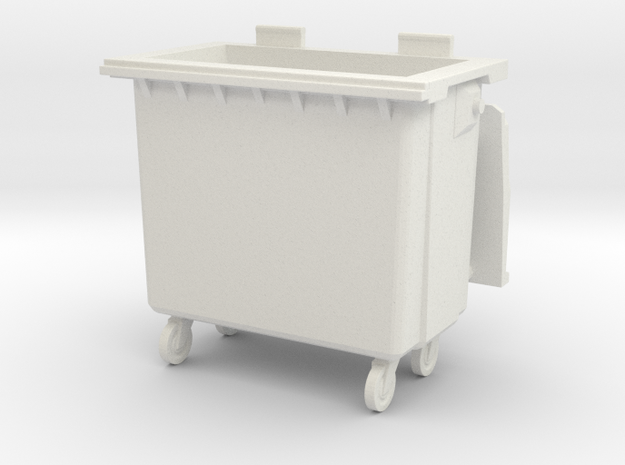 Trash bin with wheels 01.1:43 Scale  in White Natural Versatile Plastic