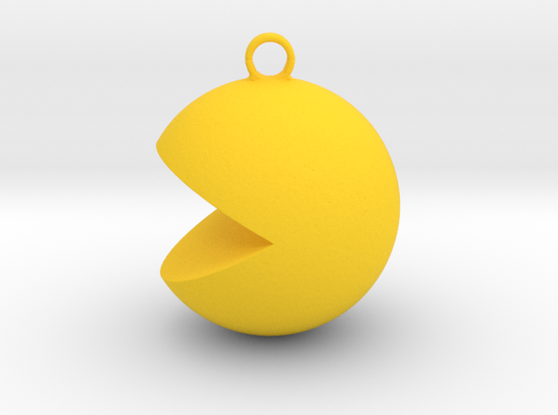 PacMan Pendant in Yellow Strong & Flexible Polished