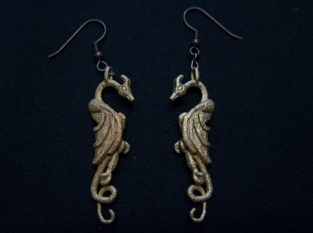 Flat Dragon Pair in Polished Gold Steel